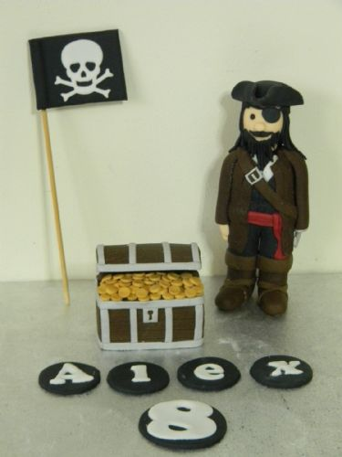 Pirate, Flag & Treasure Chest Cake Toppers